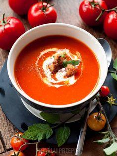 Krem z pomidorów i papryki - PrzyslijPrzepis.pl Thai Red Curry, Dinner, Ethnic Recipes, Soups, Food, Dining, Food Dinners, Essen, Eten