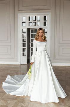Dimilia Elegant Wedding Dress, Modest Wedding Dresses, Bridal Dresses, Gown Wedding, Lace Wedding, Wedding Cakes, Wedding Rings, Dream Wedding, Simple Wedding Gowns With Sleeves