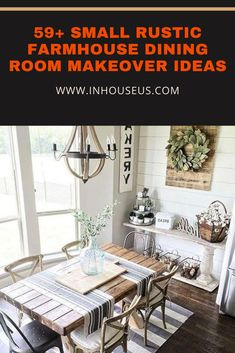 59+ Small Rustic Farmhouse Dining Room Makeover Ideas #farmhouse #farmhousediningroom Arched Window Mirror, Arched Windows, Bay Window, Rustic Farmhouse, Farmhouse Style, Dining Table In Kitchen, Dining Room, Old Doors, Rustic Decor