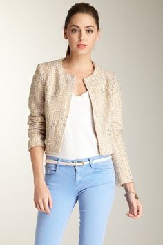 Whitney Eve Boxy Crop Cut Jacket. Love the jacket and pastel blue jeans.