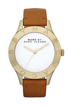 MARC BY MARC JACOBS 'Large Blade' Leather Strap Watch