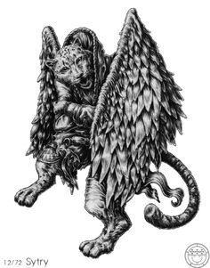 Sitri is a Great Prince of Hell, and reigns over 60 legions of demons. He causes men to love women and vice versa, and makes them to show themselves naked if it is desired. He also reveals secrets of women, mocking them. He is depicted with the face of a leopard and the wings of a griffin, but under the conjurer's request he changes into a very beautiful man.