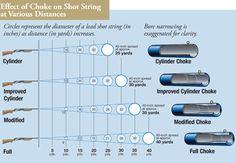 shotgun+shot+size | ... ) showing the effects of choke on shot string at various distances