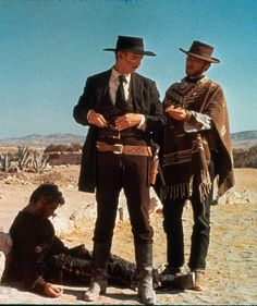 "Clint Eastwood, Lee Van Cleef and Gian Maria Volonté in ""Per qualche dollaro in più"" Clint Eastwood, Eastwood Movies, Lee Van Cleef, Westerns, Sheriff, Movie Stars, Movie Tv, Terence Hill, Sergio Leone"