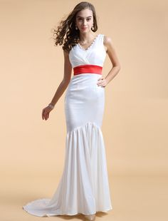 Trumpet Mermaid V Neck Brush Train White Evening Dress Affordable Evening Gowns, Evening Dresses Online, Formal Evening Dresses, Satin Dresses, Prom Dresses, Wedding Dresses, Dress Picture, White Satin, Beautiful Gowns