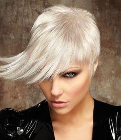 A medium blonde straight coloured silver choppy platinum-blonde healthy hairstyle by Steven Smart