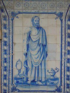 Hippocrates - Pharmacia Leonardo Paiva Leiria   Portugal- azulejos by yoramLapid, via Flickr Portuguese Culture, Portuguese Tiles, Ancient Artifacts, Ceramic Pottery, Medicine, Ceramics, History, Country, Sketches