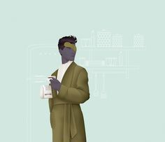 Morning ritual with coffee and a newspaper | Royalty-free licensable illustration by Jack Hughes
