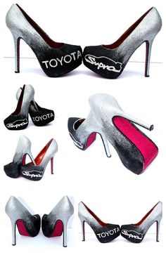 Toyota Supra Heels with Swarovski Crystals with Silver to Black Ombre Glitter and Hot Pink Glitter Soles