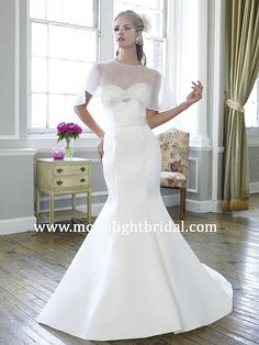 Like this caplet option for this wedding dress for more coverage.