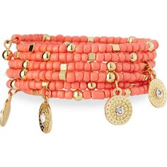 Greenbeads By Emily & Ashley Beaded Charm Wrap Bracelet ($36) ❤ liked on Polyvore featuring jewelry, bracelets, coral, beading charms, beading jewelry, charm jewelry, polish jewelry and charm wrap bracelet