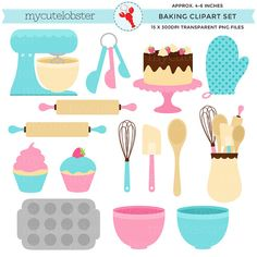 Baking Clipart Set - clip art set of baking items - personal use, small commercial use, instant down Baking Items, Strawberry Desserts, Cookie Designs, Food Illustrations, Digital Scrapbooking, Hand Lettering, Embroidery Designs, Commercial, Web Design
