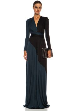 Issa Florence Color Block Maxi Silk-Blend Gown in Petrol | FWRD [1]