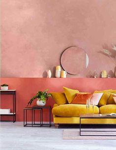 Blush pink walls with mustard yellow velvet sofa wall Block Stripe Ceramic Jug Indian Living Rooms, Living Room Sofa, Living Room Decor, Yellow Walls Living Room, Yellow Bedrooms, Living Spaces, Mustard Yellow Walls, Yellow Couch, Mustard Sofa