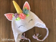 Crocheted Unicorn Hat with Flowers