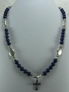 Mens Unisex Genuine Lapis Lazuli Gemstones Cross Pendant Necklace by NaturesJewelsByVina, $39.99