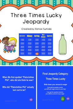 This game is a perfect way to review concepts and ideas from Three Times Lucky by Sheila Turnage. Jeopardy categories are Characters, Money, Setting, Mo's Wisdom, and Secrets. Divide your class into teams or challenge your class to play other classes.