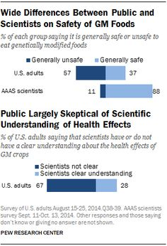 Poll: Scientists overwhelmingly think GMOs are safe to eat. The public doesn't. (Pew Research Center) Of course it's important to note that popularity doesn't equal truth, this is to debunk the idea that lots of scientists oppose GMO's. Science Guy, Data Science, Technology Magazines, Food Technology, Pew Research Center, Public Health, Global Warming, Genetics, Scientists