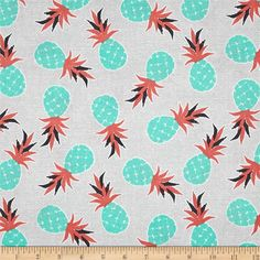 Michael Miller Migration Pineapple Palm Coral Fabric By The Yard Pineapple Palm, Pineapple Fabric, Tissu Michael Miller, Michael Miller Fabric, Fabric Tree, Canvas Fabric, Marimekko Fabric, Coral Fabric, Cotton Fabric