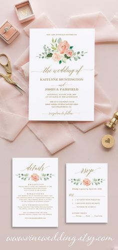 Beautiful and affordable peach blush wedding invitation suite template. #weddinginvitations #wedding #peach #blushwedding