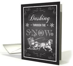 Dashing through the snow lyrics from Jingle Bells on this chalkboard inspired Christmas card with a one-horse open sleigh and swirls. Cute card for the Christmas season. greetingcarduniverse.com/jjbdesigns   #greetingcard #greetingcarduniverse #greeting #card #Christmas