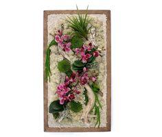 tableau végétal mini orchidées artificielles roses 28,5x52