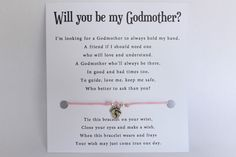 Will you be my Godparent invitation card with waxed cord wish bracelet. Will you be my Godparent ?. Will you be my Godmother ?. Will you be my Godfather ?. Printed on 300gsm white card with envelope. | eBay!