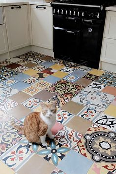 Encaustic spanish cement patchwork tiles. And Billy, aged 18 months | Flickr - Photo Sharing!
