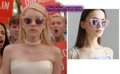 Chanel Oberlin Sunglasses in Scream Queens Chanel Oberlin, Veronica, Cat Eye Sunglasses, Mirrored Sunglasses, Scream Queens Fashion, Queen Outfit, Yellow Cat, Queen Fashion, Emma Roberts