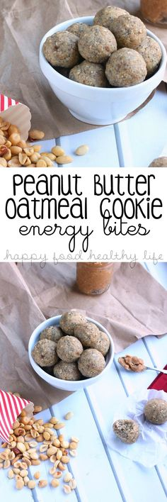 Peanut Butter Oatmeal Cookie Energy Bites - All the flavor of a delicious cookie, but packed full of nutrients to give you the boost you need   www.happyfoodhealthylife.com