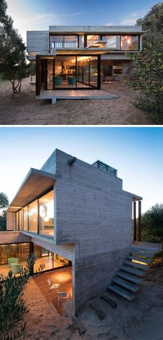 13 Modern House Exteriors Made From Concrete | The grey concrete of this beach house blends in with the color of the sand for a modern yet casual appearance.