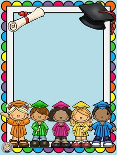 Graduation Clip Art, Graduation Images, Graduation Crafts, Pre K Graduation, Graduation Theme, Kindergarten Graduation, Orla Infantil, Perfect Attendance Certificate, School Border