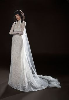 Vera Wang Bridal & Wedding Dress Collection Spring 2018 | Brides Cecile: A light ivory macrame lace long sleeve gown with A-line skirt