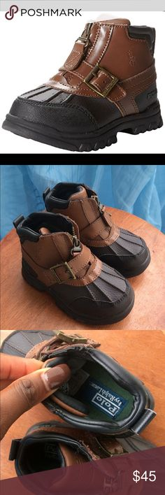(NEW) Polo by Ralph Lauren Country Mid Zip boots Brown and black Leather boots with a Rubber sole, Zipper closure with a pull tab for easy on and off and a front buckle for adjustability. Polo by Ralph Lauren Shoes Boots