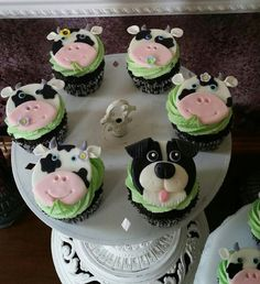 Cupcake toppers.  Cow cupcake toppers.  Border Collie cupcake topper.