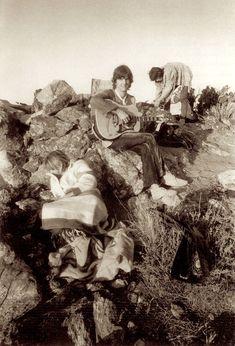 Anita Pallenberg, Keith Richards and Gram Parsons at Joshua Tree