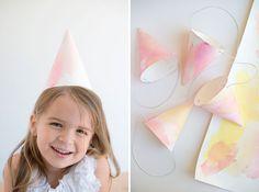 Watercolor Party Hats DIY   Oh Happy Day!