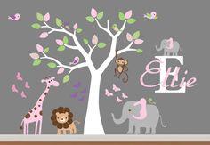 Baby Room Wall Decor Nursery Jungle Wall Decal- Tree,Monkey,Elephant,Giraffe Wall Decals