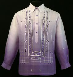 Monochromatic Lavender Barong Tagalog Take Barong Tagalog to the next level of style by adding this new design of embroidery complete with monochromatic color. Barong Tagalog Wedding, Fashion Wear, Mens Fashion, Filipiniana Dress, Philippines Fashion, Lavender Dresses, Dress Sketches, Line Shopping, Wedding Men