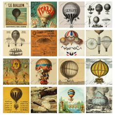 Antique French Hot Air Balloon Digital Collage Sheet - 2 Inch Square for… Air Balloon Rides, Hot Air Balloon, Ballon Illustration, Steampunk Crafts, Old Paper, Vintage Travel Posters, Digital Collage, Collage Sheet, Scrapbooking