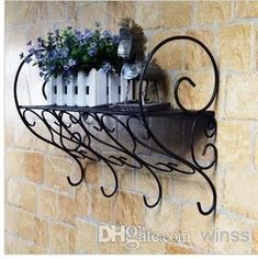 Wrought Iron Shelf Hanging Rack Set-top Box Shelf Wall Flower Online with $31.42/Piece on Winss's Store | DHgate.com