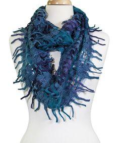 Blue Plaid Fringe Wool-Blend Infinity Scarf