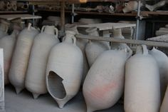 Pompeii - these are the large water jugs on display & we learned how they would carry them (by poles). (photo by Peggy Mooney)