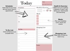 Daily Planner Printable Student Planner by CurvesLinesDesign
