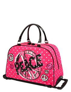 Emma ~  Travel Luggage | Pink Peace Polka Dot Roller Duffle | Shop Justice