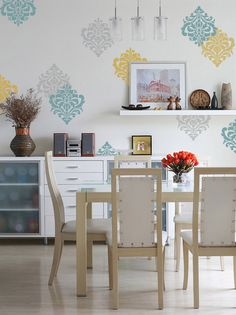 Ornamental Flower Wall Stencil | Royal Design Studio | Stencil in different colors and placement makes for easy, fast stenciling for a feature wall