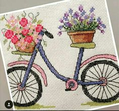 Simple Cross Stitch, Stitch 2, Crafty Projects, Cross Stitching, Kids And Parenting, Cross Stitch Patterns, Christmas Crafts, Bicycle, Embroidery