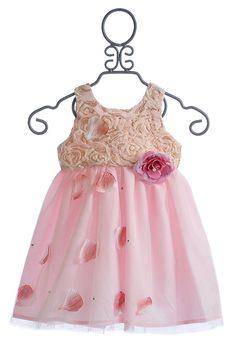 Le Pink Whisper Petals Blush Little Girls Dress $84.00