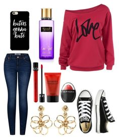 """""""Untitled #9887"""" by ohnadine on Polyvore featuring 2LUV, Converse, Victoria's Secret, Oscar de la Renta and Sephora Collection"""