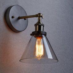 Ecopower Industrial Edison Antique Glass 1-Light Wall Sconces Simplicity